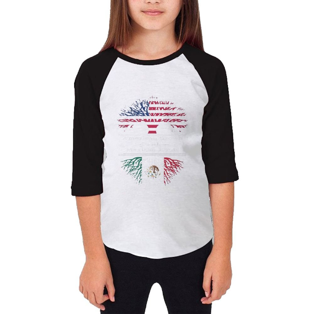 Jidfnjg American Grown W Mexican RD Kids 3/4 Sleeves Raglan T Shirts Child Youth Slim Fit Sports Uniforms