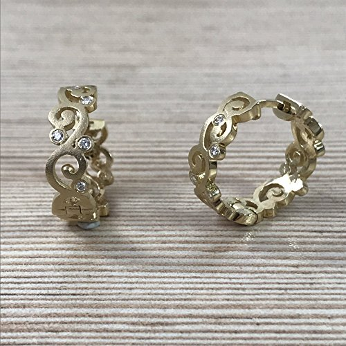14k yellow gold scroll design diamond hoop earrings 14k Yellow Gold Scroll