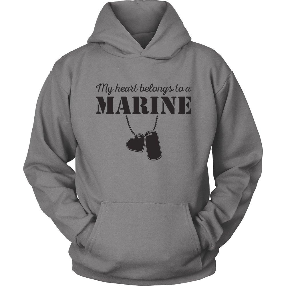Egoteest USMC Hoodie - My Heart Belongs To a Marine - Marine Corps USMC Girlfriend Hoodie - US Army Girlfriend Shirt - I Love a Marine (Gray, Small) by Egoteest (Image #1)