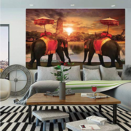 (Asian Wall Mural,Animals Dressing Traditional Costumes Standing in Front of Pagoda Patience Symbol Print Decorative,Self-Adhesive Large Wallpaper for Home Decor 83x120 inches,Multi)