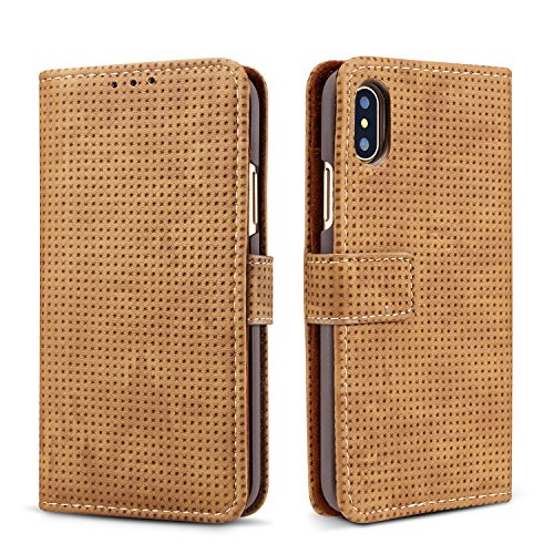 iPhone X Wallet Retro Case,TACOO Breathable Grid Solid Brown Color Leather Protective Magnetic Closure Flip Kickstand Credit Card Money Slot Cover for Apple iPhone - Design Gucci