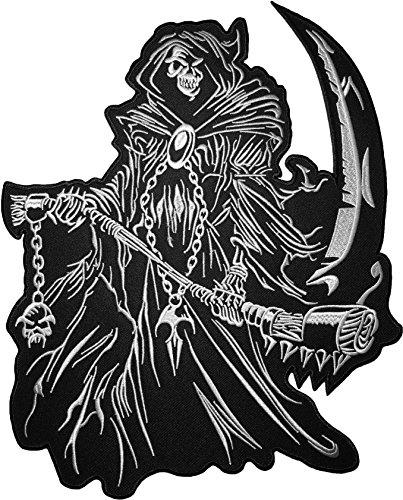 [Large Size] Papapatch Grim Reaper Skull Ghost God Of Death Devil Satan Motorcycle Riding Rider Biker Costume DIY Applique Embroidered Sew on Iron on Patch (IRON-GRIM-01-LARGE) - Diy Storm Cloud Costume