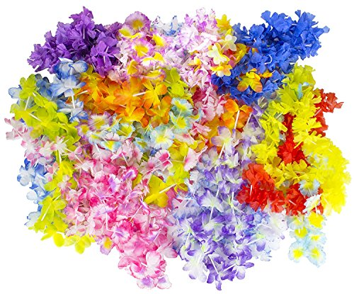Hawaiian Leis, Luau Party (100-Pack) Silk Flower Leis]()