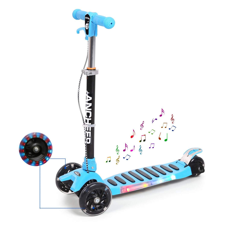 eshion Music and LED Light Up Wheels, Foldable Mini Kick Scooter T-Bar 3 Wheel for Boys Girls Children Kids