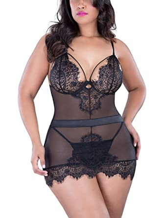 97efe22e66a6e Lalagen Women s Lace Sheer Strappy Deep V Neck Sexy Plus Size Lingerie Set  Black S