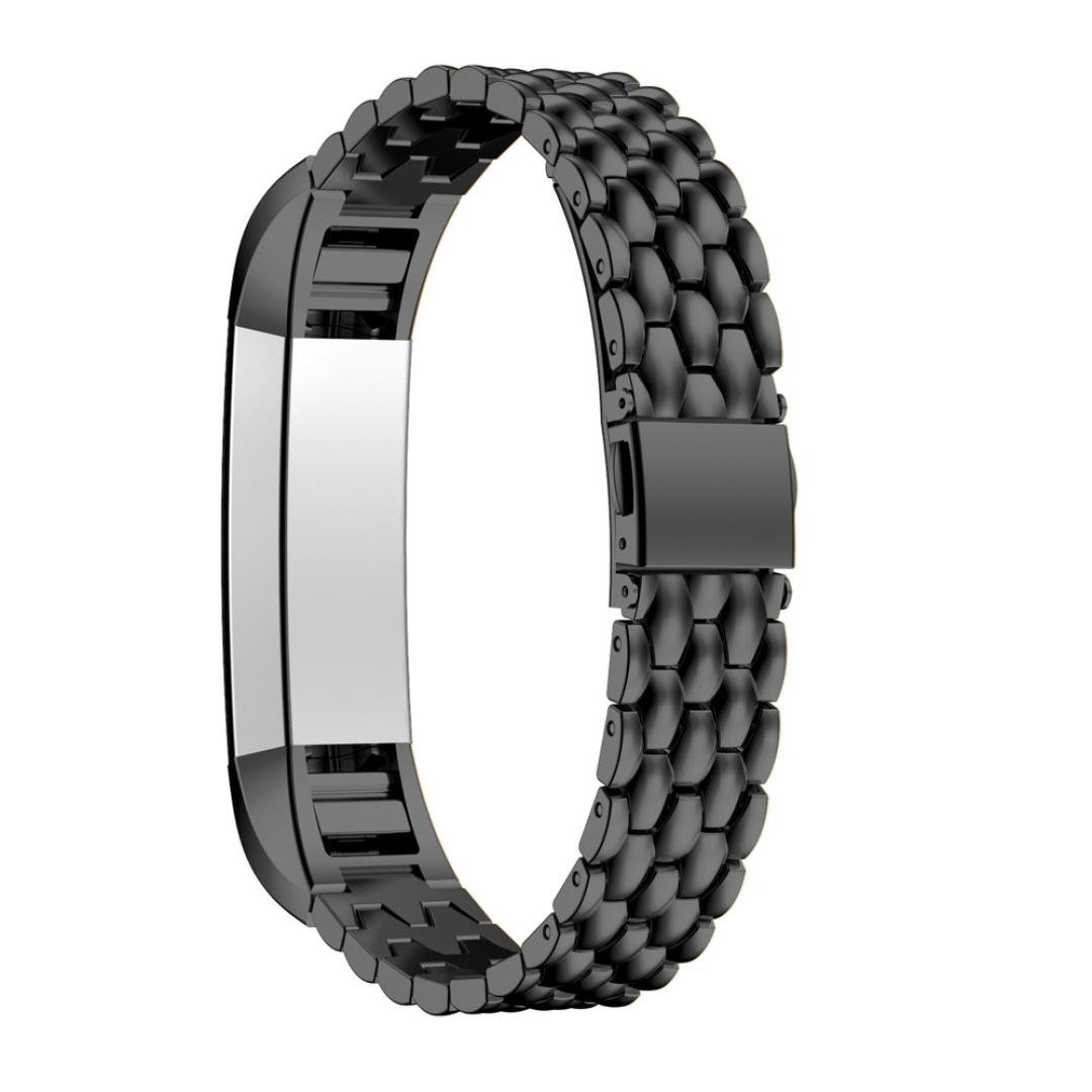 For Fitbit Alta HR Bands, Gotd Replacement Accessories Bracelet Band Stainless Steel Smart Watch Strap For Fitbit Alta HR (Black)