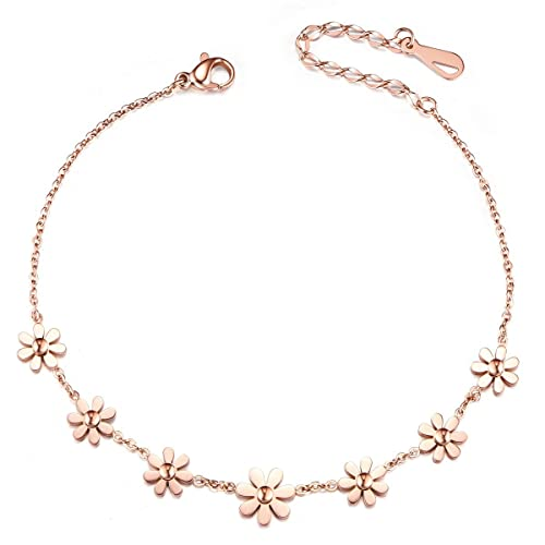 Sweetiee Stainless Steel Rose Gold Daisy Flowers Anklet 200mm for Woman Jewellery Gift gsRCQyH