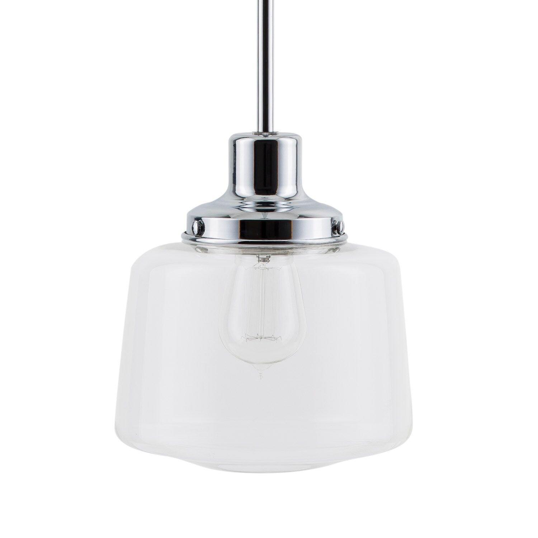 Scolare LED Schoolhouse Pendant - Chrome w/Clear Glass Shade - Linea di Liara LL-P274-PC
