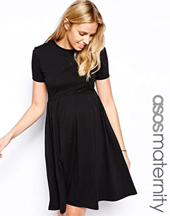 release info on hot sales exclusive deals ASOS Maternity Skater Dress With Slash Neck And Short Sleeves In ...