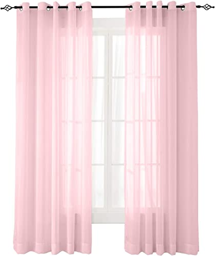 ChadMade Indoor Outdoor Solid Sheer Curtain Nickel Grommet Pink 200 W X 102 L Opulent Voile Drapes 1 Panel , Scandina Collection