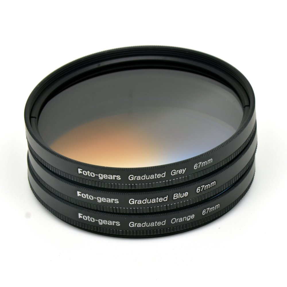 67mm Graduated Colour Filter set Graduated Grey + Blue + Orange Filter Kit