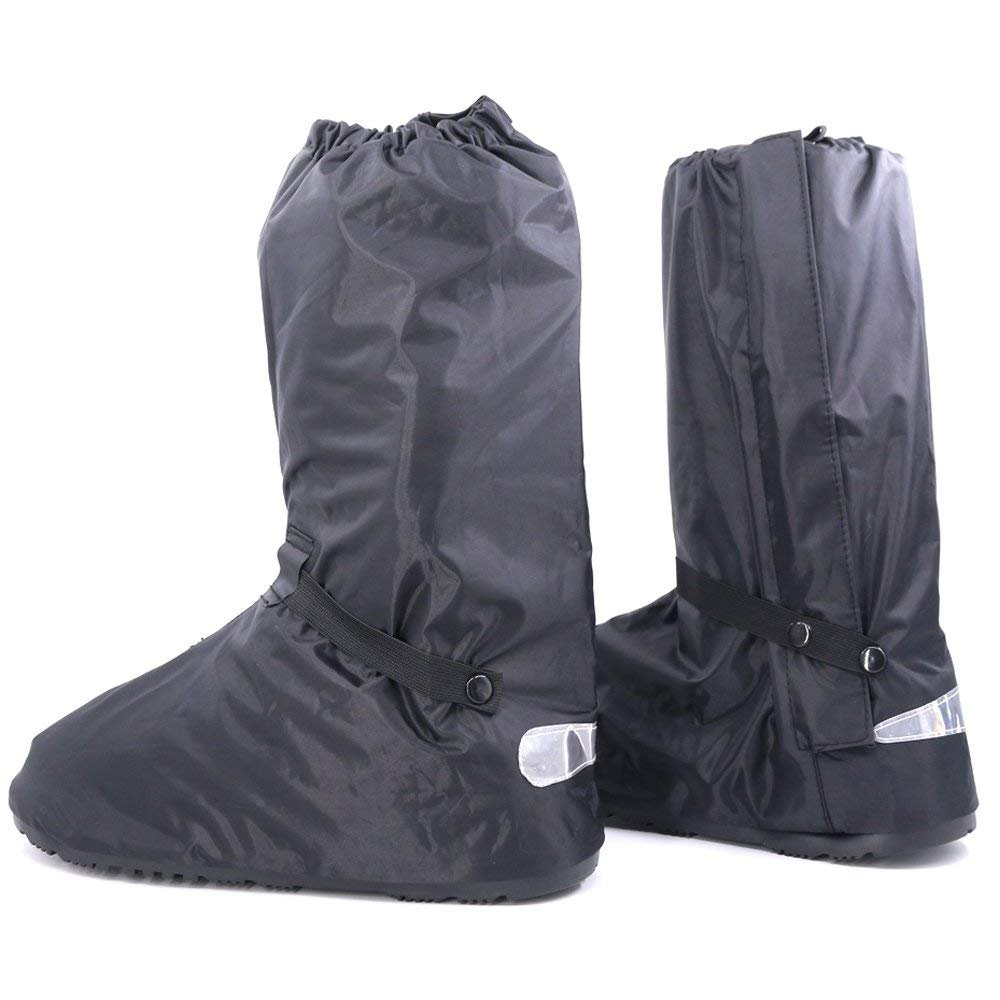 Huihua Black Men Waterproof Rainstorm Rainy Day Rain suit Raingear Motorcycle Outdoor Protective Gear Rain Boot Shoe Cover Zipper US 10 11 Euro 44 45 Black