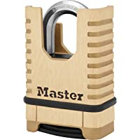 Master Lock M1177EURD Brass Heavy Duty Solid Padlock [Closed Shackle][Combination Lock] -Anti-Rust, Ultra Resistant and…