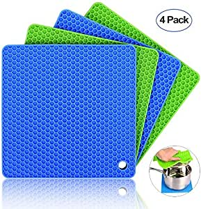 Silicone Pot Holders (Set of 4), Ankway Silicone Trivets Multi-Purpose Hot Pads Heat Resistant to 450 °F, Non-Slip, Insulation, Durable, Flexible Trivet for Table Kitchen(2* Blue & 2*Green)