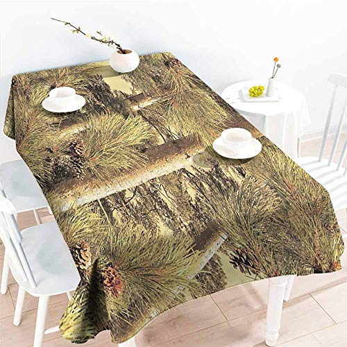 Homrkey Restaurant Tablecloth Pinecones Decor Pinecones Tree Realtree Spring Summer Theme and Durable W60 xL84