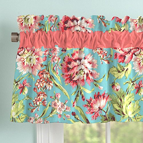 Carousel Designs Coral and Teal Floral Window Valance Rod Pocket by Carousel Designs