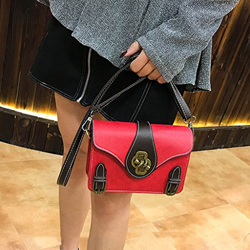 27x2 Rojo Mujer Bandolera 8 21x7x15cm Marrón de Verde Vintage 91 Piel Color sintética Estilo Dabixx Bolso 76x5 para 6qPSp