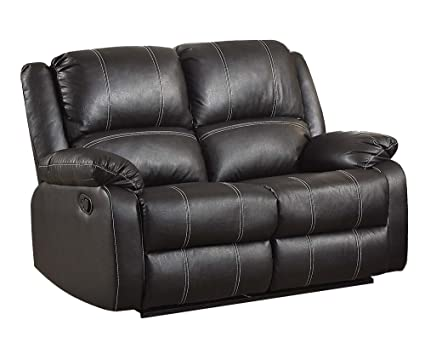 Remarkable Acme Zuriel Black Faux Leather Reclining Loveseat Machost Co Dining Chair Design Ideas Machostcouk