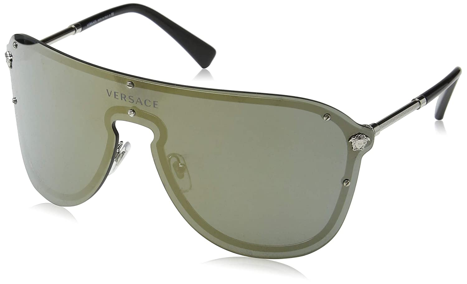 Versace Womens Mirrored Shield Sunglasses