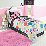 Disney Minnie Mouse Twin Sized 4 Piece Polka Dots Bedding Set - Reversible Comforter and Sheet Set