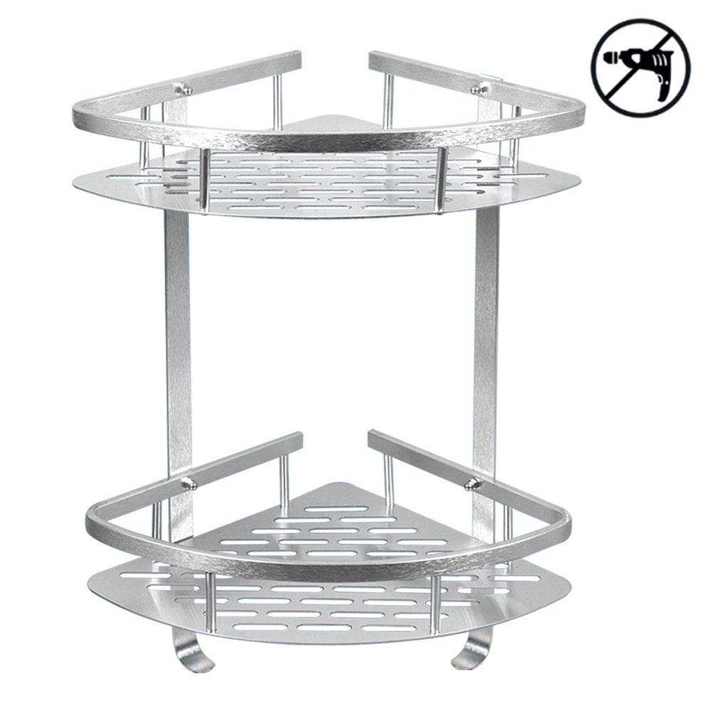 TIANG Bathroom Shelf, Aluminum Shower Corner Wall Mounted Shelf Basket, 12 Inch Triangle Space Saver Shelf Holder with 2 Hooks for Bathroom, Toilet, Hotel, kitchen — 2 Tiers