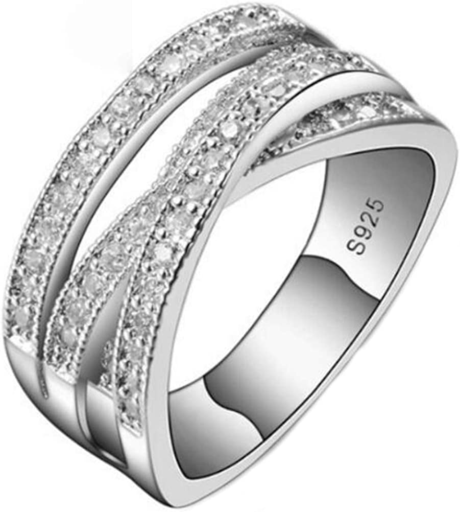 It is a graphic of Amazon.com: TEMEGO 44k White Gold Intertwined Crossover Ring