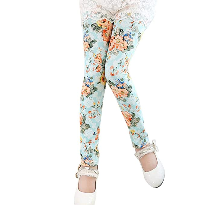 9602c5e40 Kids Trousers, Baby Girls Autumn Winter Polyester Casual Leggings Flower  Print Classic Pencil Pants: Amazon.co.uk: Clothing