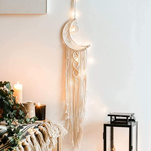 Amazon Com Dremisland Macrame Woven Wall Hanging Moon Dream Catcher Boho Chic Bohemian Home Decor Wall Art Decor Beautiful Apartment Dorm Room Door Decoration Moon Home Kitchen