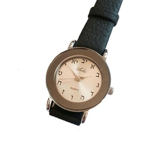 Adi por tienda de defensa de Israel Judaica hebreo letras reloj de pulsera de mujer, piel, Plata, cuarzo: ADI: Amazon.es: Relojes