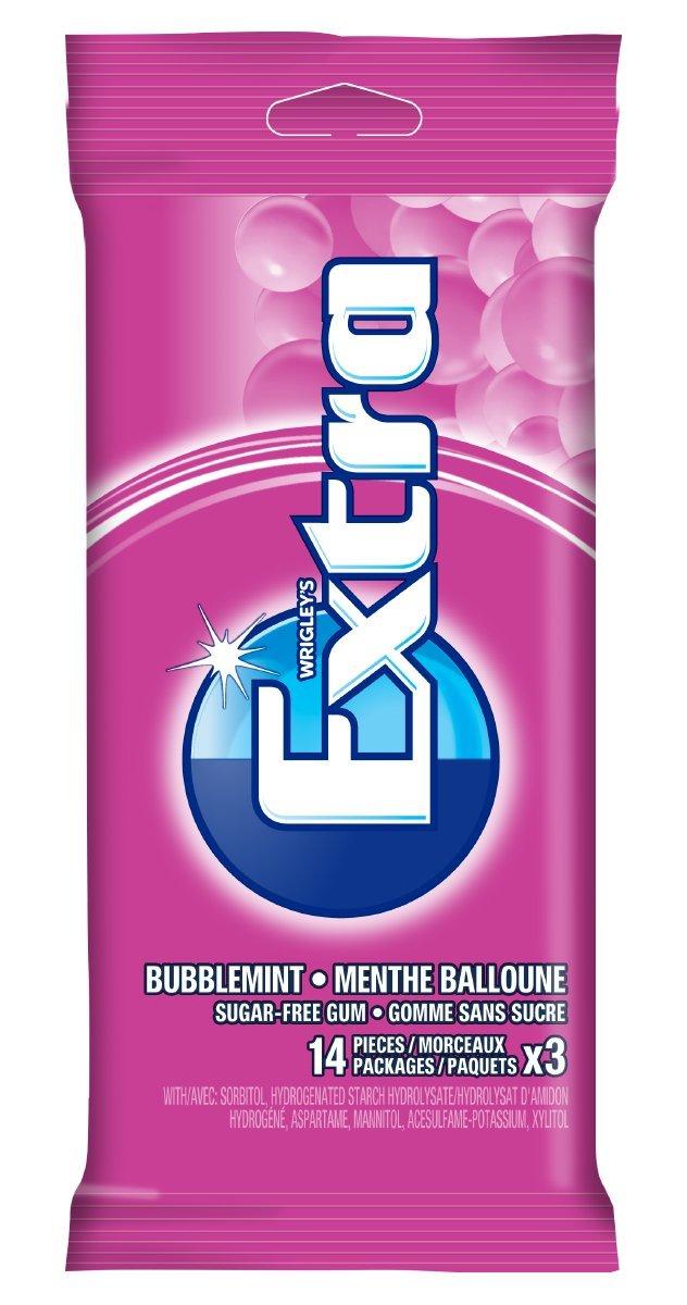 Extra Sugar Free Gum, Bubblemint, 12 count Wrigley Canada
