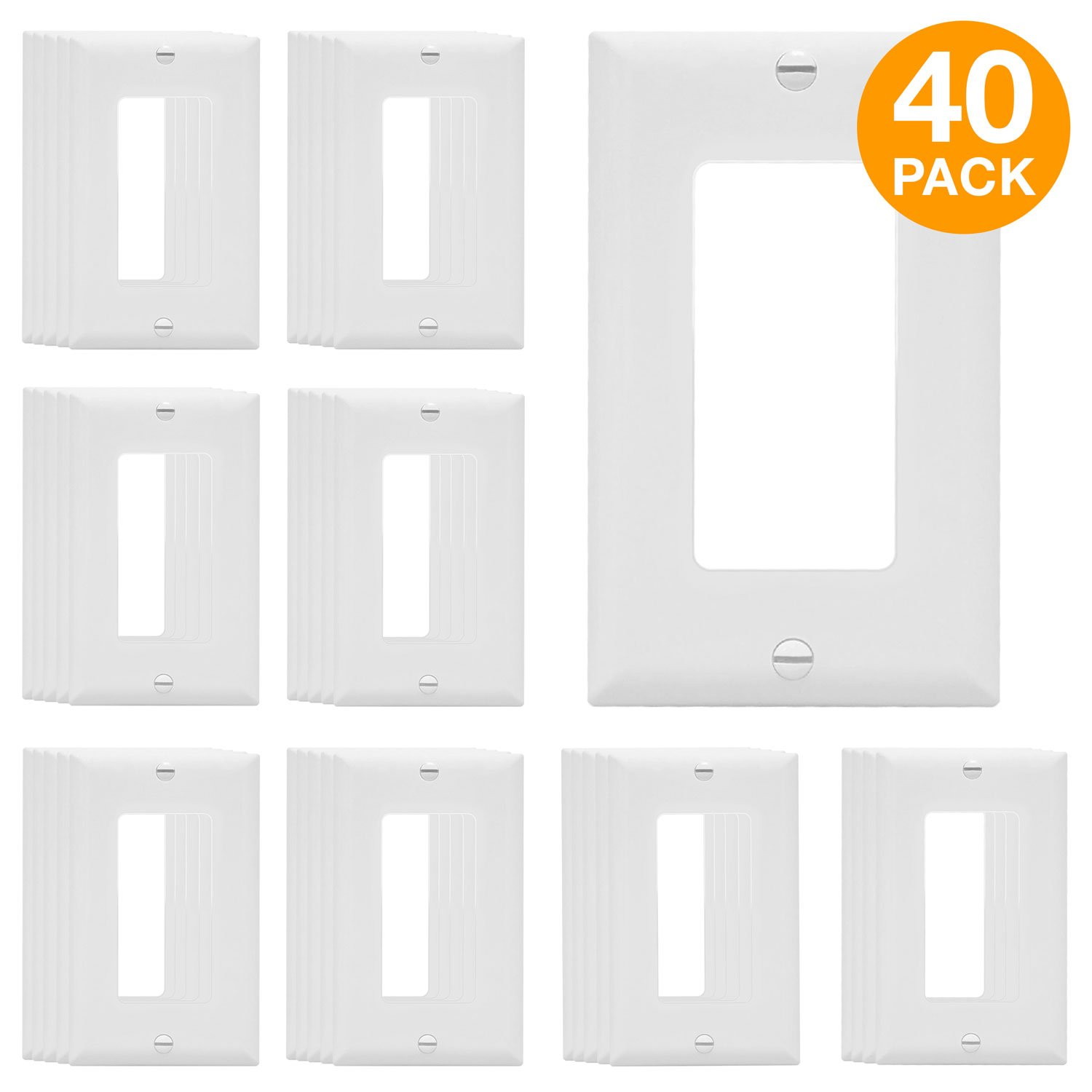 ENERLITES Decorator Light Switch or Receptacle Outlet Wall Plate, Size 1-Gang 4.50'' x 2.76'', Polycarbonate Thermoplastic, 8831-W-40PCS, White (40 Pack)