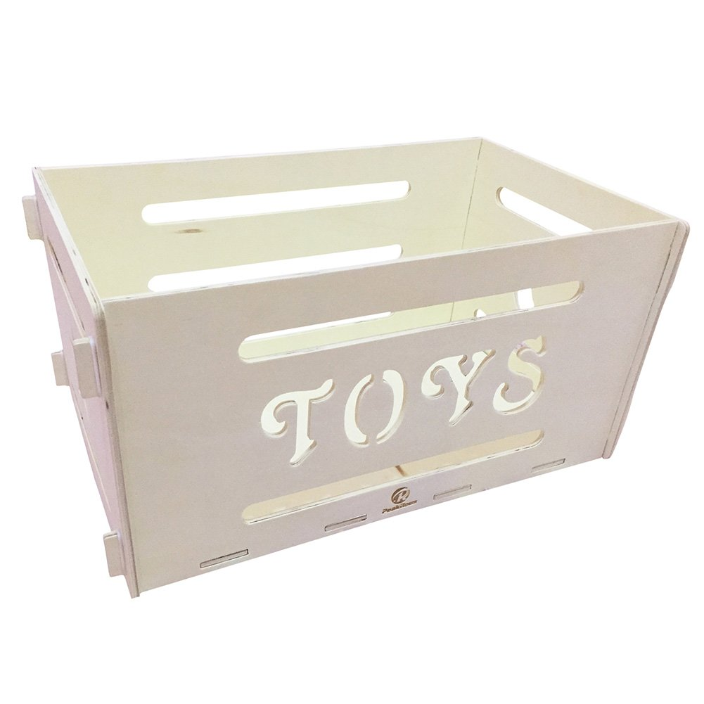 PeakRous Rectangular Wooden Toy Storage Box, Easy to Assemble