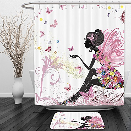 Toddler Mossy Oak Flower Girl Dress (Vipsung Shower Curtain And Ground MatPink Butterfly Girl with Floral Dress Flower Design Fairy Angel Wings Fae Accent Soft Colors Modern Designer Feminine Decor Dreamy Folklore Black WhiteShower Curta)