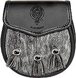 Masterson Semi Sporran Fur Plain Leather Flap Scottish Clan Crest