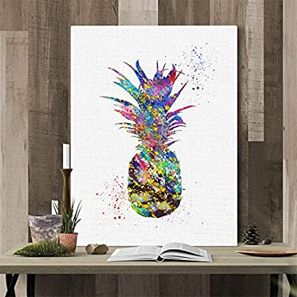 """VancyTop Frameless Multicolor Pineapple Pattern Canvas Painting for Home Living Room Office Sofa TV Background Decorations,M:11.815.7"""""""