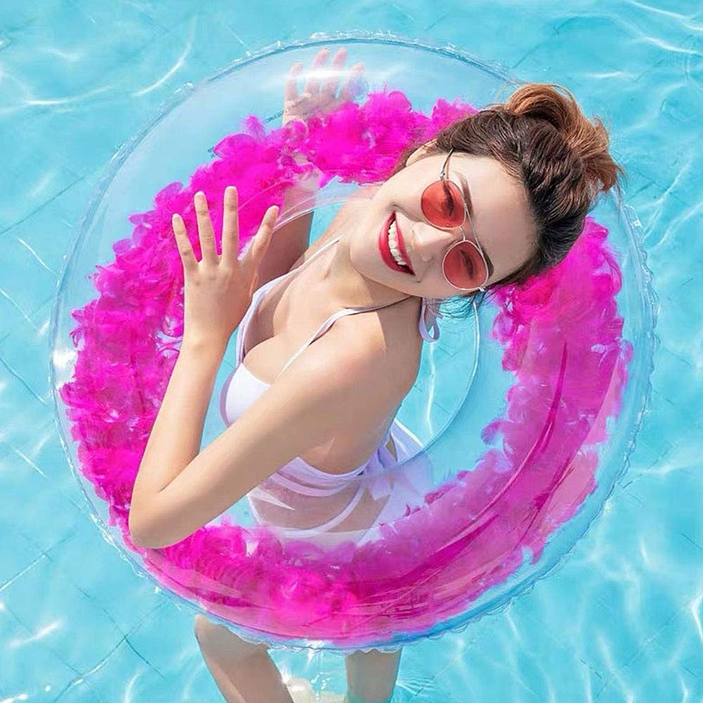 lulalula Feather Swim Ring Beach Feather Swimming Pool Float Thickened PVC Inflatable Transparent Swimming Ring for Adults