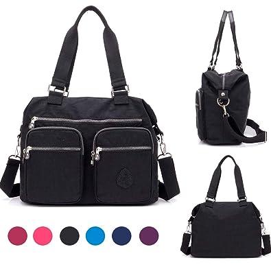 Amazon.com  Nylon Crossbody Tote Handbags for Women Leisure Lightweight Messenger  Bag Shoulder Bag with Lots of Pockets (Classic Black)  Shoes 7a285b635f