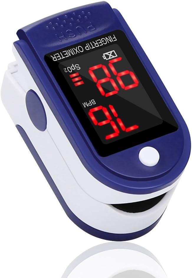 GRDE Oxímetro de Dedo GrandBeing, Medidor de Oxígeno en Sangre y Monitor de Frecuencia Cardíaca con Pantalla OLED, Pulsioxímetro Oxígeno en Sangre para Adultos y Niños (Baterías AAA no incluídas)