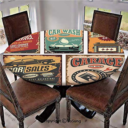 """Elastic Edged Polyester Fitted Table Cover,Nostalgic Art Auto Service Garage Funk Style Highway Logo Repair Road Grunge Decor,Fits up 40""""-44"""" Diameter Tables,The Ultimate Protection for Your Table,Mul"""