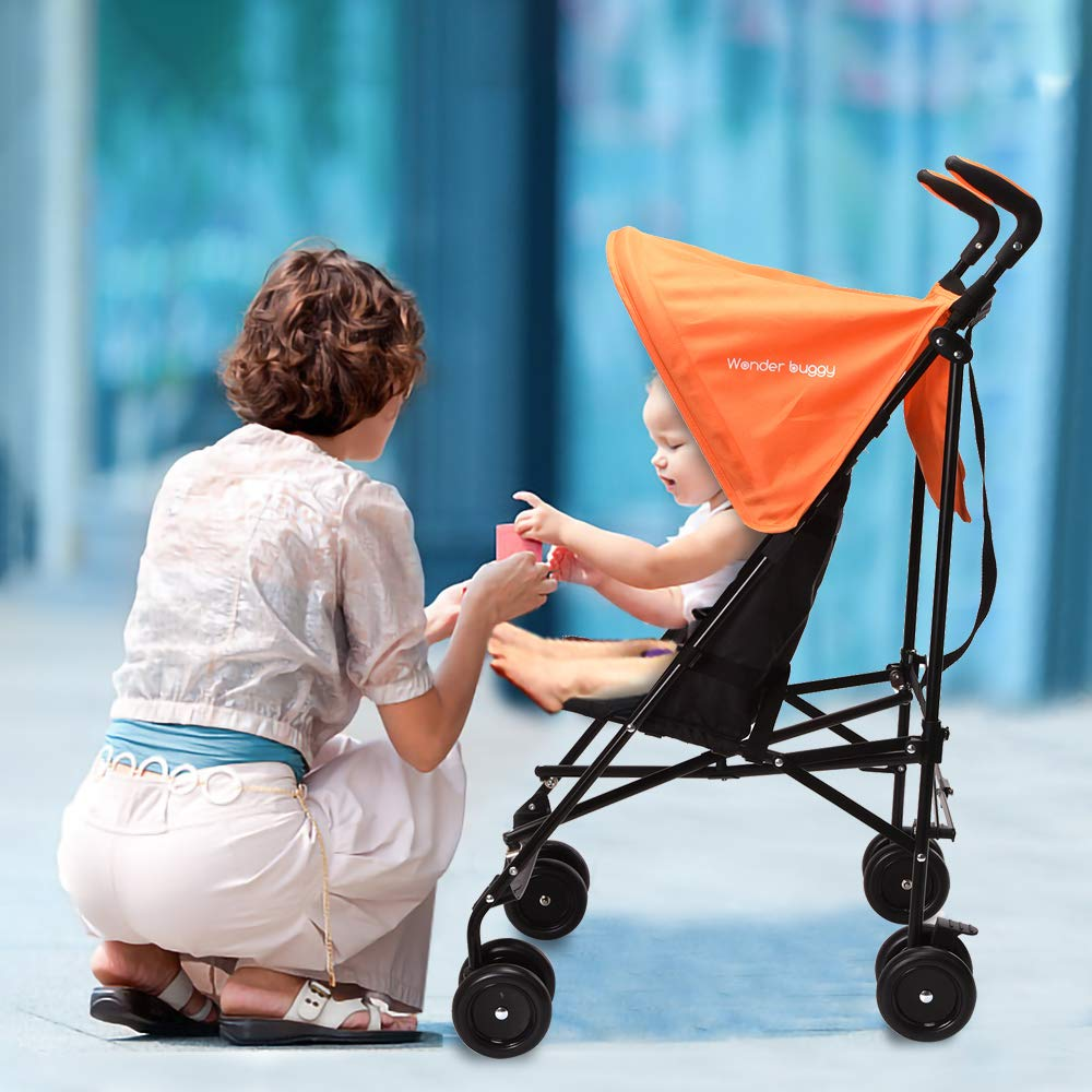 Wonder buggy Lightweight Baby Jumbo Umbrella Stroller with Rounded Hood (Orange) by Wonder buggy (Image #8)