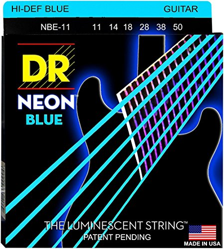 DR Strings Hi-Def NEON Blue Coated Medium (11-50) Electric Guitar Strings by kpop