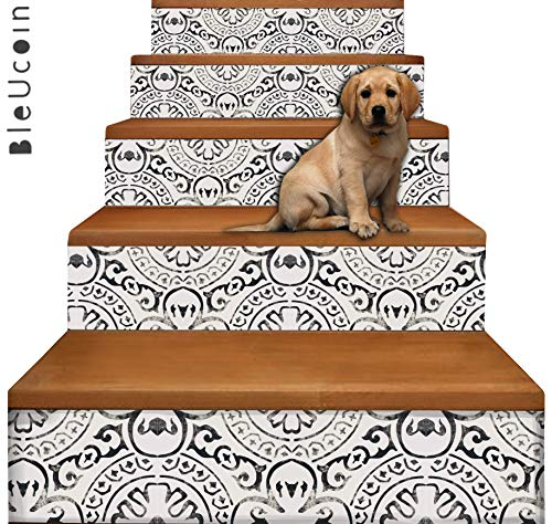 Bleucoin Amalfi Stair Riser Peel and Stick Vinyl Decal Strips - Self Adhesive Waterproof Easy to Trim/Clean - Repositionable & Removable DIY Murals for Home Décor - Pack of 5 Strips (6