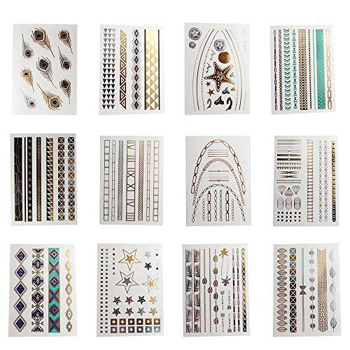 Teenitor 12 Sheets Metallic Shimmer Jewelry Tattoo, Gold/Silver Flash Metallic Tattoos, 230+ Designs Temp Tattoos - Stars, Diamonds, Feathers Bracelets, Wrist and Arm Bands