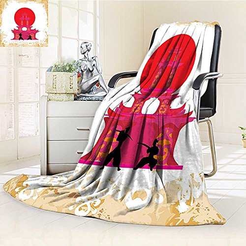 (YOYI-HOME Season Duplex Printed Blanket for Bed Or Couch Japanese Medieval Battle Landscape at Sunset in Front of Temple Asian Culture Red Yellow White Warm Microfiber/W59 x H47)