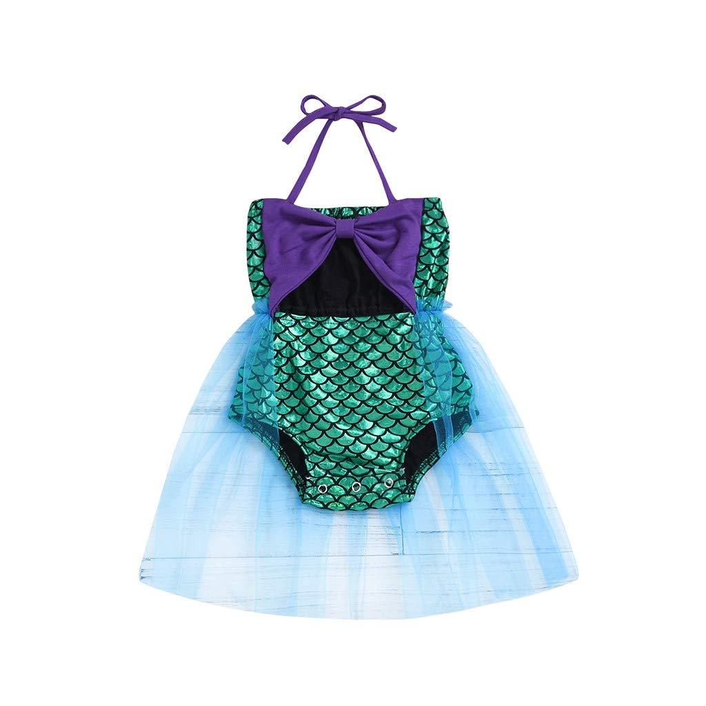 Nevera Toddler Baby Girls Summer Bikini Beach Mermaid Bowknot Halter Swimsuit Mini Dress Purple