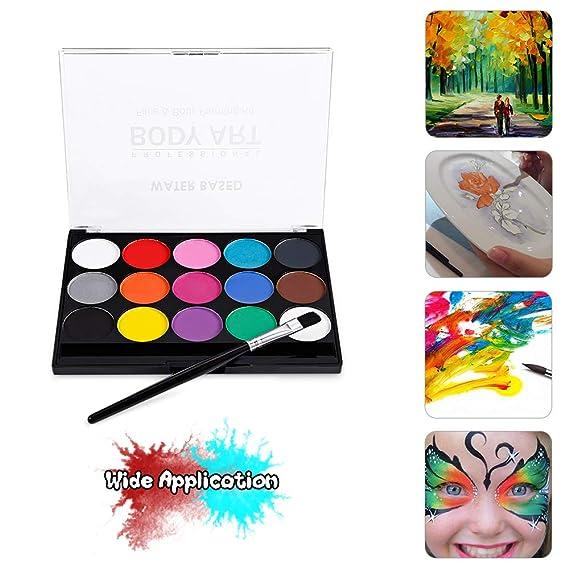 Kit de pintura facial Pintura corporal a base de agua profesional 15 colores Pinturas no tóxicas lavables 1 Pincel para niños Piel sensible Traje de ...