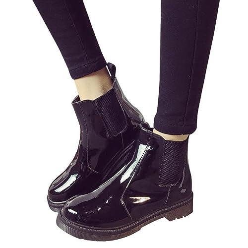 7e0ac1917a5 Botas Militares para Mujer Otoño Invierno PAOLIAN Moda Zapatos de Charol  Mediano Alto Botas de Agua