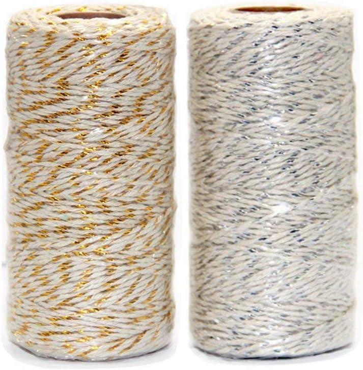 Ewparts 200 metros Cordón de hilo de algodón de color dorado / plata 2ply, para el regalo que envuelve / guita de las etiquetas, 2 rodillos (guita del algodón del oro / de la plata)