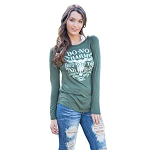 Gillberry Womens Printing Long Sleeve Round Neck Pullover Blouse Tops T Shirts (L, Green)
