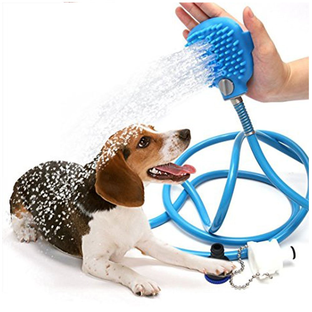JB Pet Shower Sprayer Pet Bathing Tool Multi-Functional Bath Hose Sprayer and Scrubber Scrub 2 in One, Dog Cat Long Short Hair Grooming Bath Shampoo Brush and Massager Indoor and Outdoor Use by JB Pet Products (Image #1)